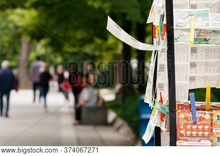 Larissa, Thessaly, Greece - May 4th, 2018: Close-up Of Greek Lottery Tickets Holding By Pegs At The
