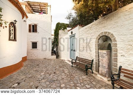 Hydra, Greece - October 4th, 2018: Bust Of Ioannis Charamis, The Greek Ophthalmologist, Hydra Island