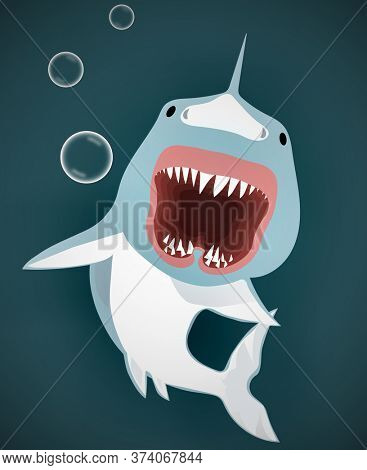 Illustration of Great White Shark Attacking Under Water