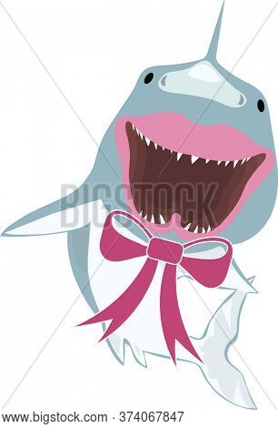Happy Shark with Pink Bow