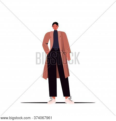 Young Man In Casual Trendy Clothes Male Cartoon Character Standing Pose Full Length Vector Illustrat