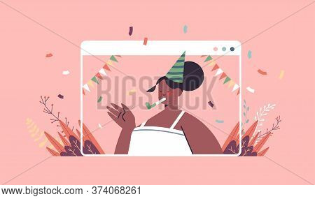Happy Woman In Festive Hat Celebrating Online Birthday Party African American Girl In Computer Windo