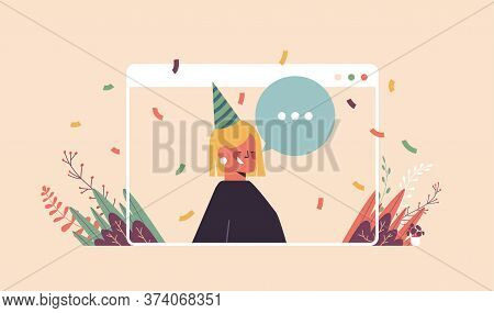 Woman In Funny Festive Hat Celebrating Online Birthday Party Happy Girln In Computer Window Celebrat
