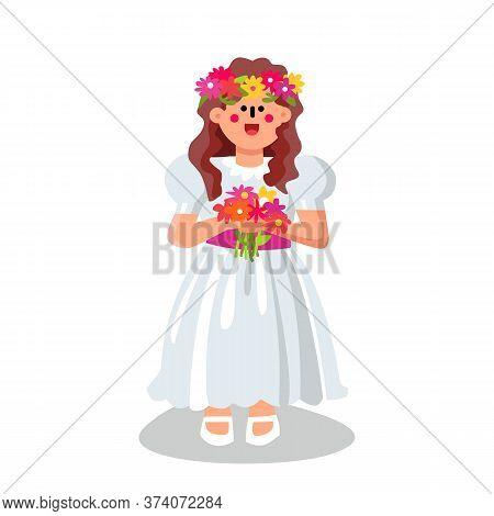 Communion Girl Wearing Ceremonial Dress Vector Illustration