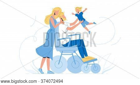 Father Man In Wheelchair Playing With Son Vector