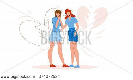 Woman Breakup Girlfriend Broken Love Heart Vector