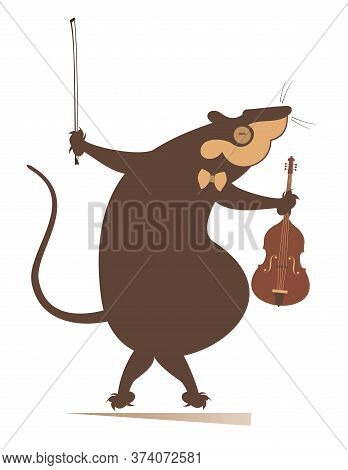 Cartoon Rat Or Mouse Violinist Illustration. Funny Rat Or Mouse With Violin And Fiddlestick Isolated