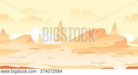 Small Martian Craters With Danger Sharp Rocks Game Background Tillable Horizontally, Orange Sand Hil