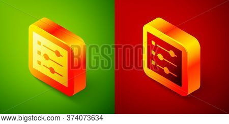 Isometric Car Settings Icon Isolated On Green And Red Background. Auto Mechanic Service. Repair Serv