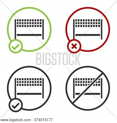 Black Ribbon In Finishing Line Icon Isolated On White Background. Symbol Of Finish Line. Sport Symbo