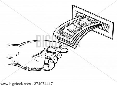 Withdraw Money From Atm Slot. Payment Banking Finance Money, Atm Machine Money Deposit Or Withdrawal