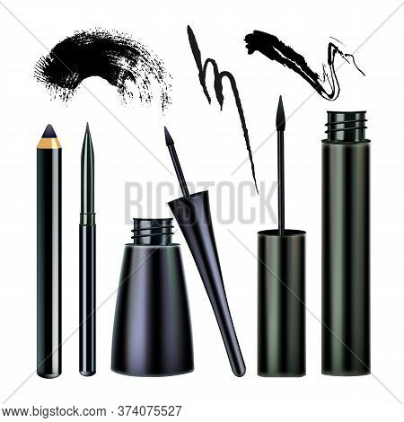 Eyeliner And Paint Stroke Visage Tool Set Vector. Collection Of Eyeliner Pencil, Eyeshadow Marker Bo