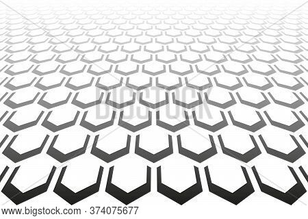 Abstract Geometric Hexagons Pattern. Diminishing Perspective. White Textured Background. Vector Art.