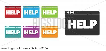 Black Browser Help Icon Isolated On White Background. Internet Communication Protocol. Set Icons Col