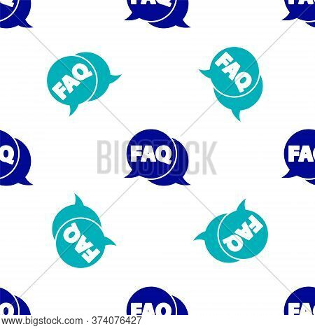 Blue Speech Bubble With Text Faq Information Icon Isolated Seamless Pattern On White Background. Cir