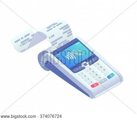 Isometric E-payments Pos Terminal Print Receipt. 3d Wireless Nfc Payment Terminal With Check Isolate