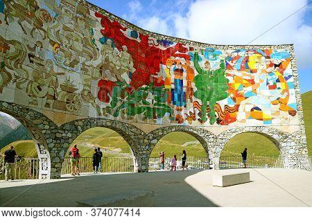 Incredible Massive Mural Tile-work Inside The Russia-georgia Friendship Monument Depicting Georgian