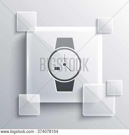 Grey Wrist Watch Icon Isolated On Grey Background. Wristwatch Icon. Square Glass Panels. Vector Illu