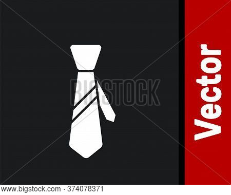 White Tie Icon Isolated On Black Background. Necktie And Neckcloth Symbol. Vector Illustration