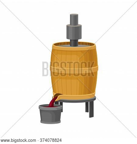 Crushing Grapes In Wooden Barrel With Pressing Equipment Vector Illustration