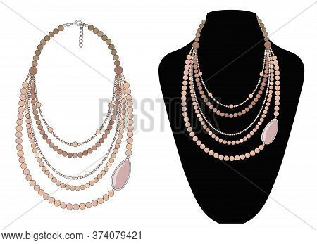 Short Necklace Made Of Rose Quartz. Vector Image