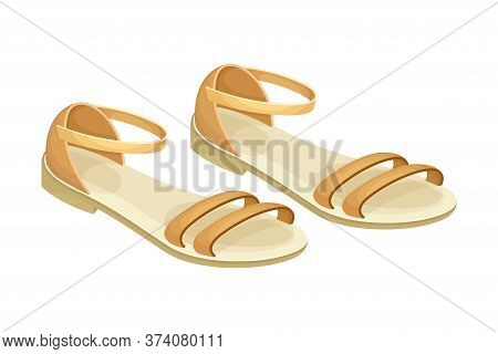 Sandals With Flat Sole And Latchets Vector Illustration