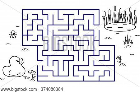 Black Coloring Pages With Maze. Cartoon Duck, Pond And Reeds. Kids Education Art Game. Template Desi
