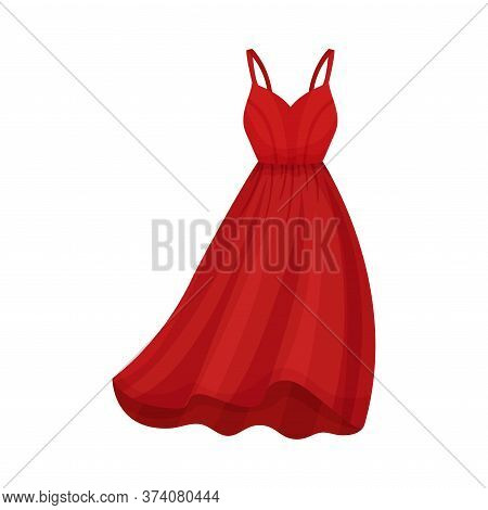Red Dress With Thin Shoulder Straps And Wide Dress Border Vector Illustration