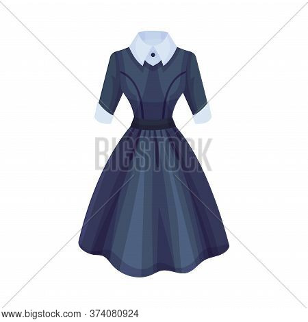 Formal Dress With Wide Bottom And White Collar Vector Illustration