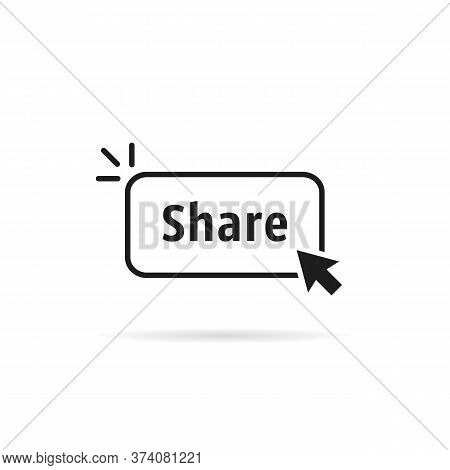 Thin Line Share Button With Black Cursor. Simple Flat Logotype Graphic Linear Design Element Isolate