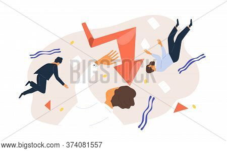 Finance Collapse. Team Of Business People Flying Surrounded By Geometric Figure, Document And Graph
