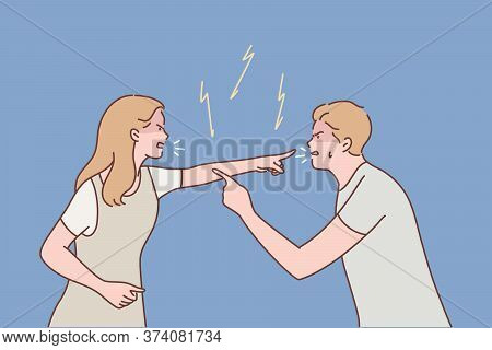 Family, Couple, Quarrel, Divorce, Agression, Conflict Concept. Young Aggressive Man Boyfriend And Wo