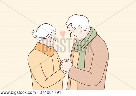 Relationship, Love, Couple, Old Age Concept. Happy Man And Woman Senior Citizens Cartoon Characters