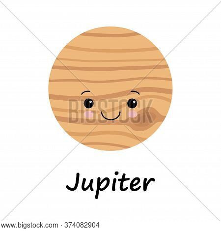 Cartoon Cute Jupiter Planet Isolated On White Background. Planet Of Solar System. Cartoon Style Vect