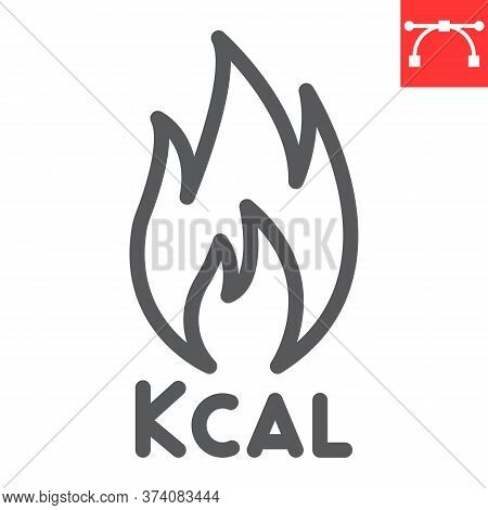 Calories Burn Line Icon, Fitness And Keto Diet, Fire Sign Vector Graphics, Editable Stroke Linear Ic