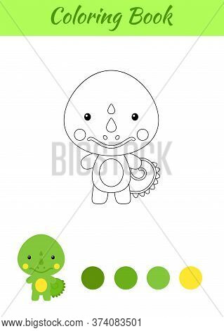 Coloring Page Happy Little Baby Iguana. Printable Coloring Book For Kids. Educational Activity For K