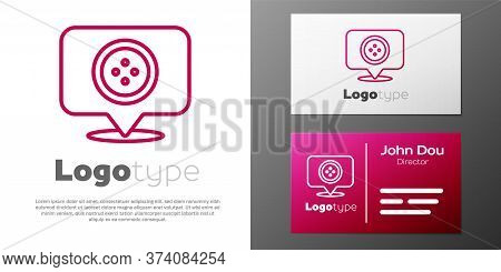 Logotype Line Location Tailor Shop Icon Isolated On White Background. Logo Design Template Element.