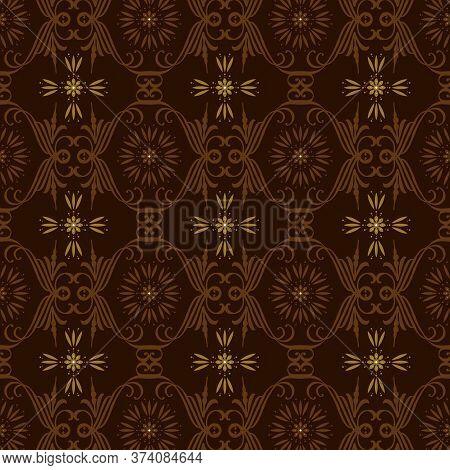Modern Circle Pattern On Solo Batik With Elegant Dark Brown Color Design