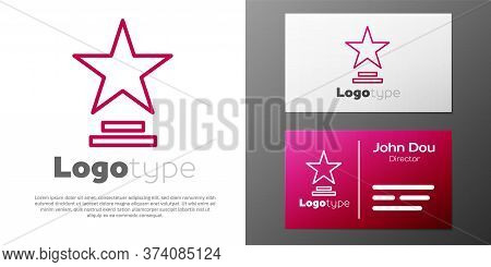 Logotype Line Movie Trophy Icon Isolated On White Background. Academy Award Icon. Films And Cinema S