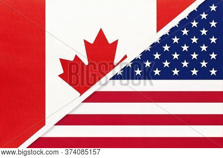Canada And United States Of America Or Usa, Symbol Of National Flags From Textile. Relationship, Par