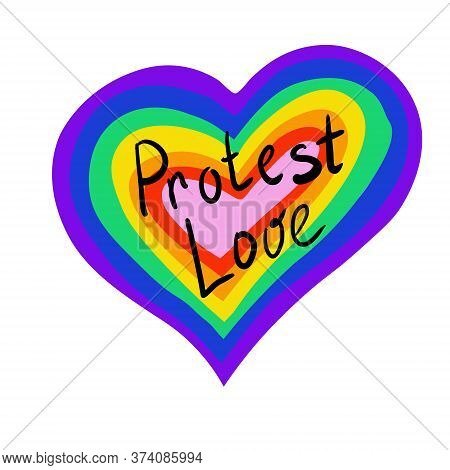 The Heart Of The Rainbow. Lgbt Pride Or Rainbow Flag With A Heart Pattern. Gay Flag Colored Illustra