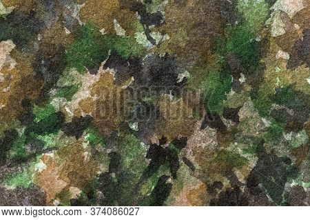 Abstract Art Background Dark Green And Black Colors. Watercolor Painting On Canvas With Olive Spots