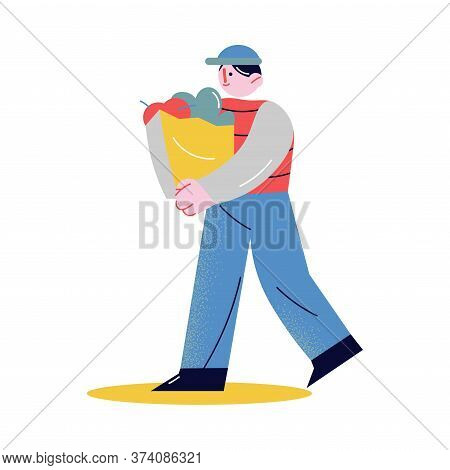 Man Carrying Big Shopping Bag With Food And Helping Elderly Person