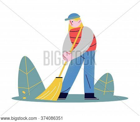Young Woman Sweeping Floor And Helping Elderly Person To Clean Up
