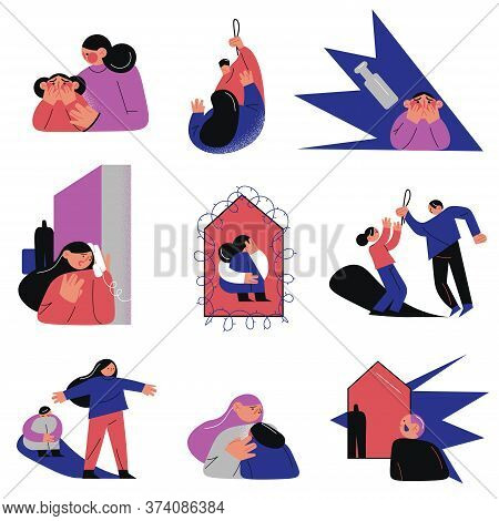 Parents Punishing Children At Home And Doing Domestic Violence
