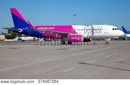 Kyiv, Ukraine - June 26, 2020: Aircraft Airbus A320-200 Ha-lsc Wizz Air Airlines. The Plane Is On Th