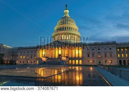 Us Capitol Building At Night, Washington Dc, Usa.