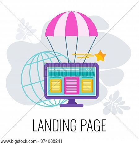 Landing Page Icon. Page Flies By Parachute. Digital Marketing. Ecommerce Online Sales. Lead Generati