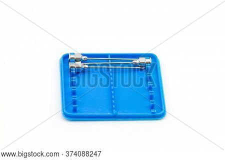 Stack Of Reuse Iron Needle No.18 G For Drug Needle On White Background