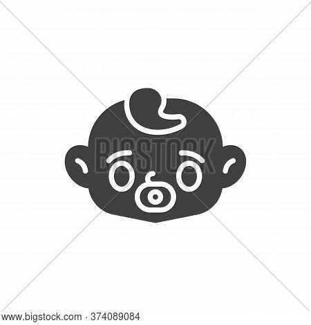 Baby Face With Pacifier Vector Icon. Filled Flat Sign For Mobile Concept And Web Design. Baby Sucks